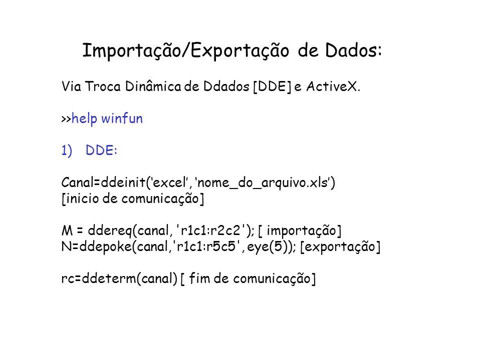 Importação/Exportação de Dados: Via Troca Dinâmica de Ddados [DDE] e ActiveX. >>help winfun 1)DDE: Canal=ddeinit(excel, nome_do_arquivo.xls) [inicio d
