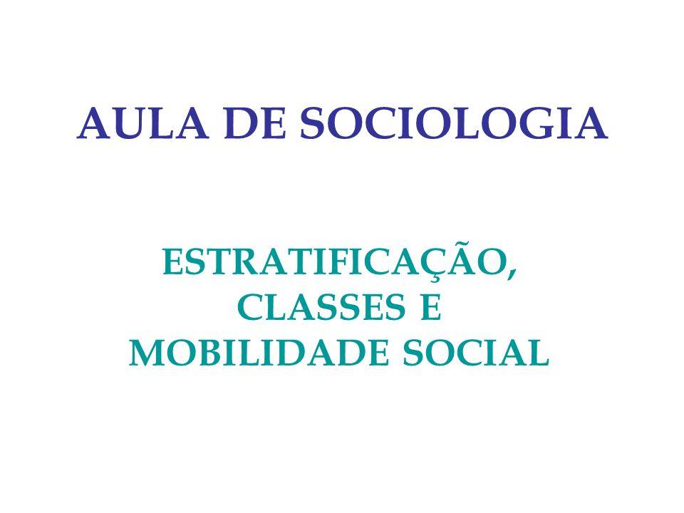 AULA DE SOCIOLOGIA ESTRATIFICAÇÃO, CLASSES E MOBILIDADE SOCIAL