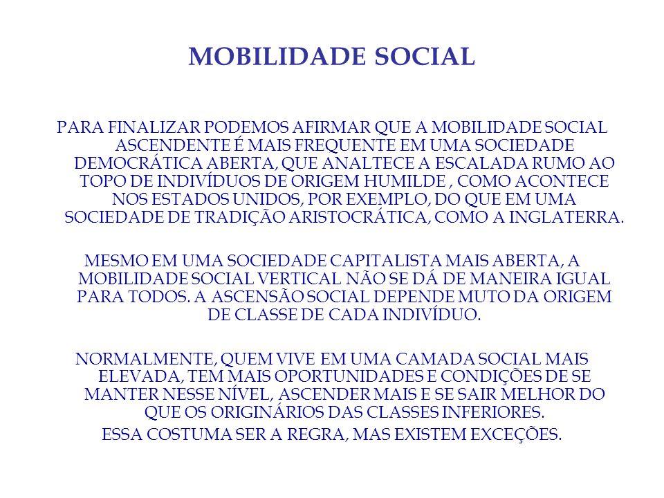 MOBILIDADE SOCIAL PARA FINALIZAR PODEMOS AFIRMAR QUE A MOBILIDADE SOCIAL ASCENDENTE É MAIS FREQUENTE EM UMA SOCIEDADE DEMOCRÁTICA ABERTA, QUE ANALTECE A ESCALADA RUMO AO TOPO DE INDIVÍDUOS DE ORIGEM HUMILDE, COMO ACONTECE NOS ESTADOS UNIDOS, POR EXEMPLO, DO QUE EM UMA SOCIEDADE DE TRADIÇÃO ARISTOCRÁTICA, COMO A INGLATERRA.