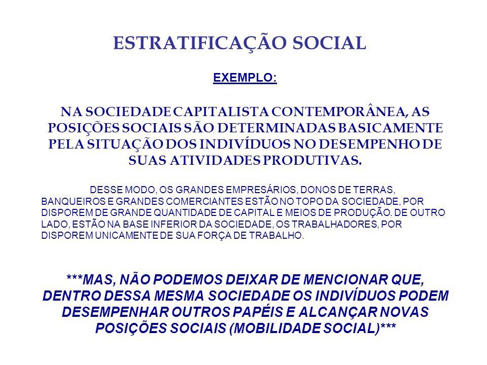 ESTRATIFICAÇÃO SOCIAL EXEMPLO: NA SOCIEDADE CAPITALISTA CONTEMPORÂNEA, AS POSIÇÕES SOCIAIS SÃO DETERMINADAS BASICAMENTE PELA SITUAÇÃO DOS INDIVÍDUOS NO DESEMPENHO DE SUAS ATIVIDADES PRODUTIVAS.