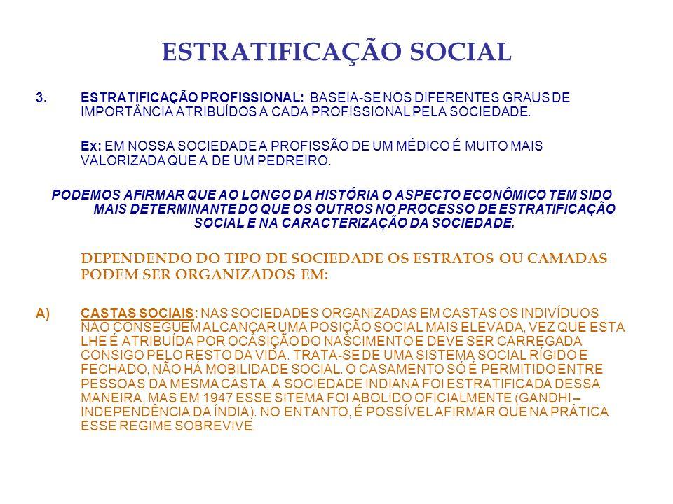 ESTRATIFICAÇÃO SOCIAL 3.ESTRATIFICAÇÃO PROFISSIONAL: BASEIA-SE NOS DIFERENTES GRAUS DE IMPORTÂNCIA ATRIBUÍDOS A CADA PROFISSIONAL PELA SOCIEDADE. Ex: