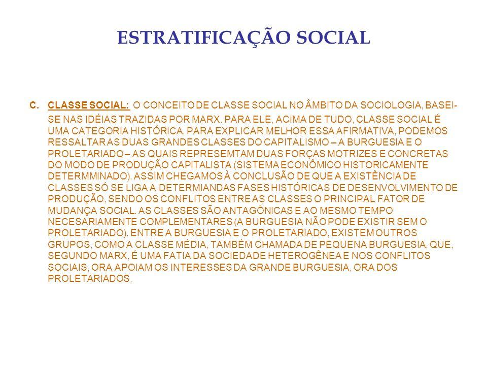 ESTRATIFICAÇÃO SOCIAL C.CLASSE SOCIAL: O CONCEITO DE CLASSE SOCIAL NO ÂMBITO DA SOCIOLOGIA, BASEI- SE NAS IDÉIAS TRAZIDAS POR MARX. PARA ELE, ACIMA DE