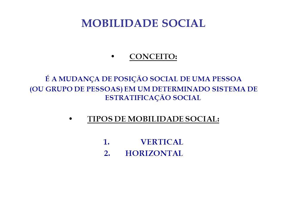 MOBILIDADE SOCIAL CONCEITO: É A MUDANÇA DE POSIÇÃO SOCIAL DE UMA PESSOA (OU GRUPO DE PESSOAS) EM UM DETERMINADO SISTEMA DE ESTRATIFICAÇÃO SOCIAL TIPOS DE MOBILIDADE SOCIAL: 1.