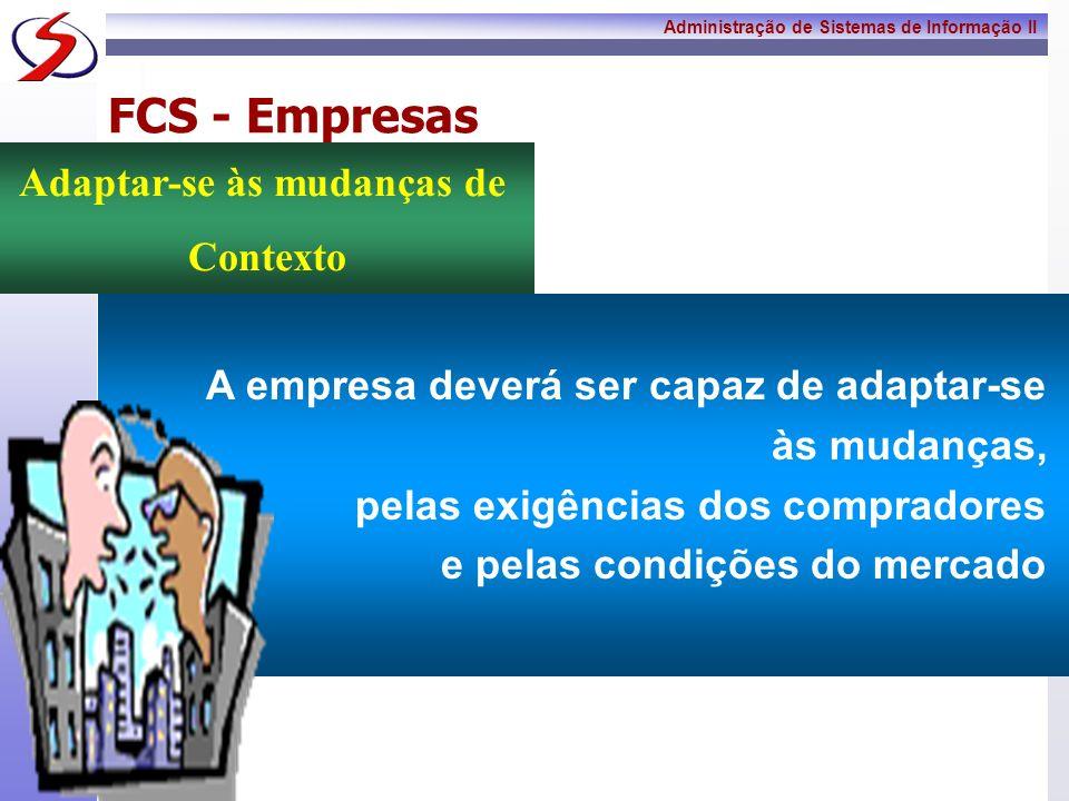 Administração de Sistemas de Informação II 9 FCS - Empresas Os lucros da economia global virão da inovação, não do monopólio ou do isolamento de mercados Criar Soluções Inovadoras