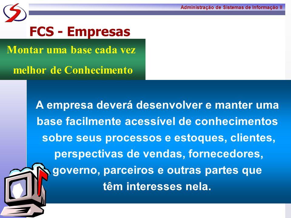 Administração de Sistemas de Informação II 10 FCS - Empresas A empresa deverá ser capaz de adaptar-se às mudanças, pelas exigências dos compradores e