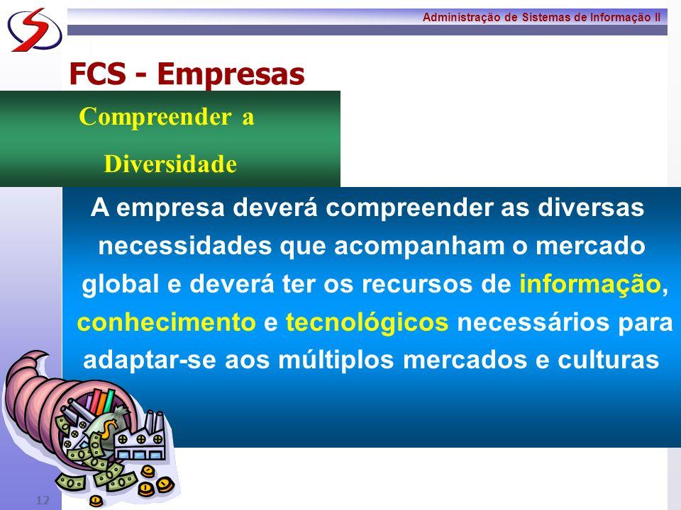 Administração de Sistemas de Informação II 11 FCS - Empresas A empresa deverá desenvolver e manter uma base facilmente acessível de conhecimentos sobr