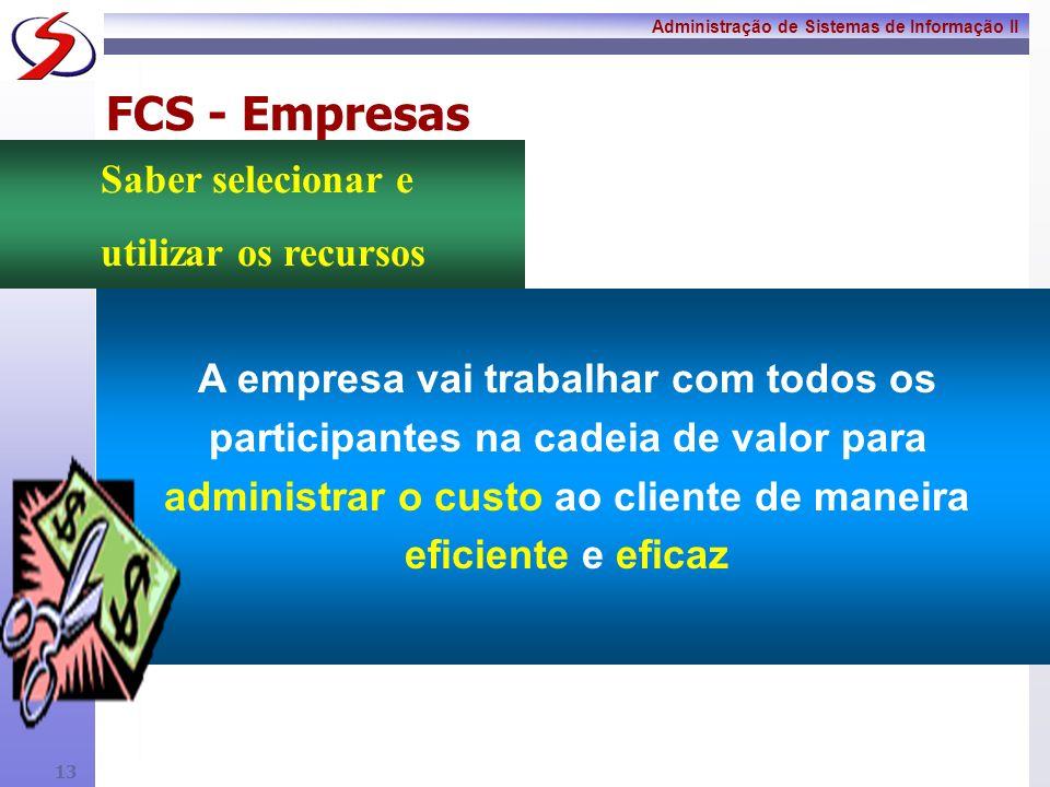 Administração de Sistemas de Informação II 12 FCS - Empresas A empresa deverá compreender as diversas necessidades que acompanham o mercado global e d