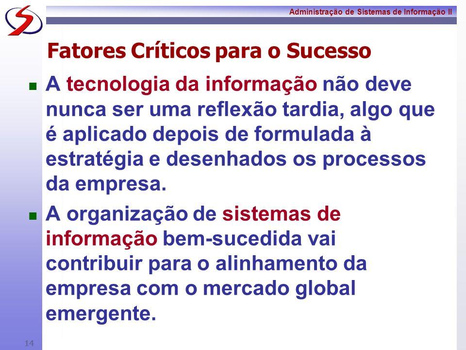 Administração de Sistemas de Informação II 13 FCS - Empresas A empresa vai trabalhar com todos os participantes na cadeia de valor para administrar o