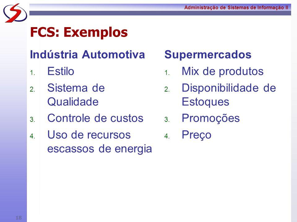 Administração de Sistemas de Informação II 17 Fatores Críticos para o Sucesso Ambiente competitivo da Indústria Competências, Pontos fortes e fracos Estratégia Competitiva da empresa FCS Indicadores para os FCS Aplicações de TI / SI Objetivos estratégicos