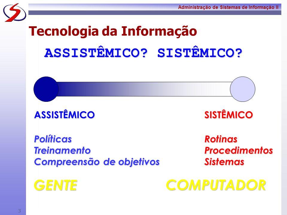 Administração de Sistemas de Informação II 2 Tecnologia da Informação Tecnologia => atinge todas as partes de nossas vidas Evolução Tecnológica. Tecno