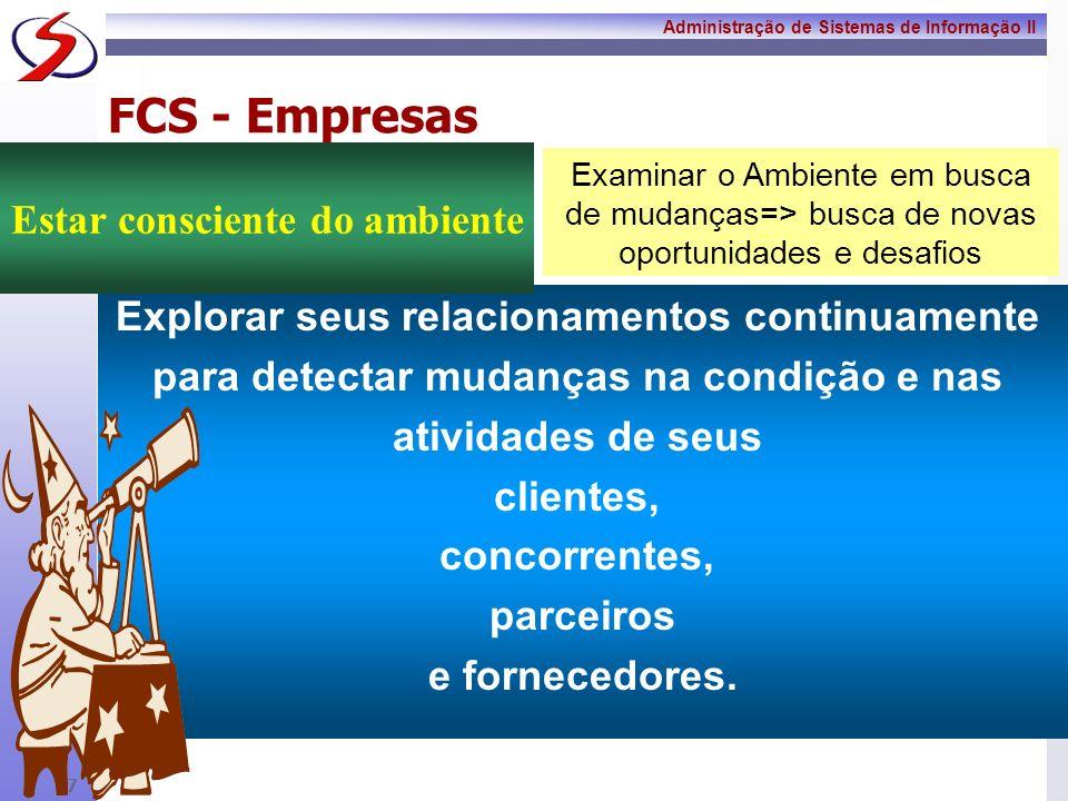 Administração de Sistemas de Informação II 6 FCS - Empresas A empresa vai contabilizar entre suas competências a capacidade de criar, manter e adminis