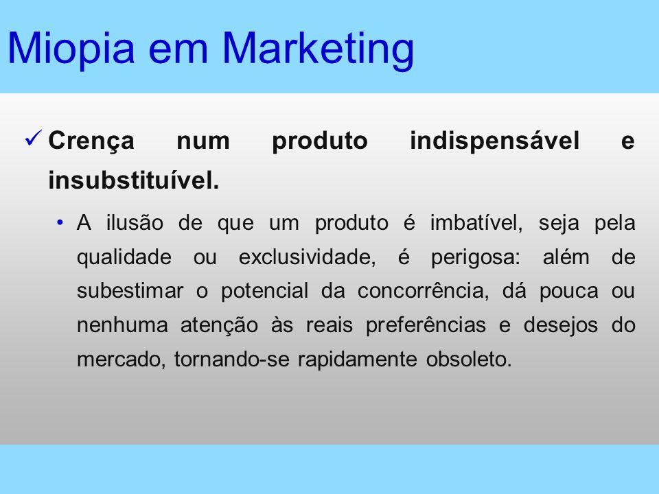 Miopia em Marketing Crença num produto indispensável e insubstituível. A ilusão de que um produto é imbatível, seja pela qualidade ou exclusividade, é