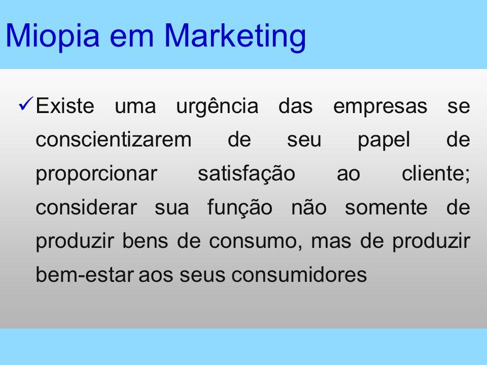 Miopia em Marketing Existe uma urgência das empresas se conscientizarem de seu papel de proporcionar satisfação ao cliente; considerar sua função não