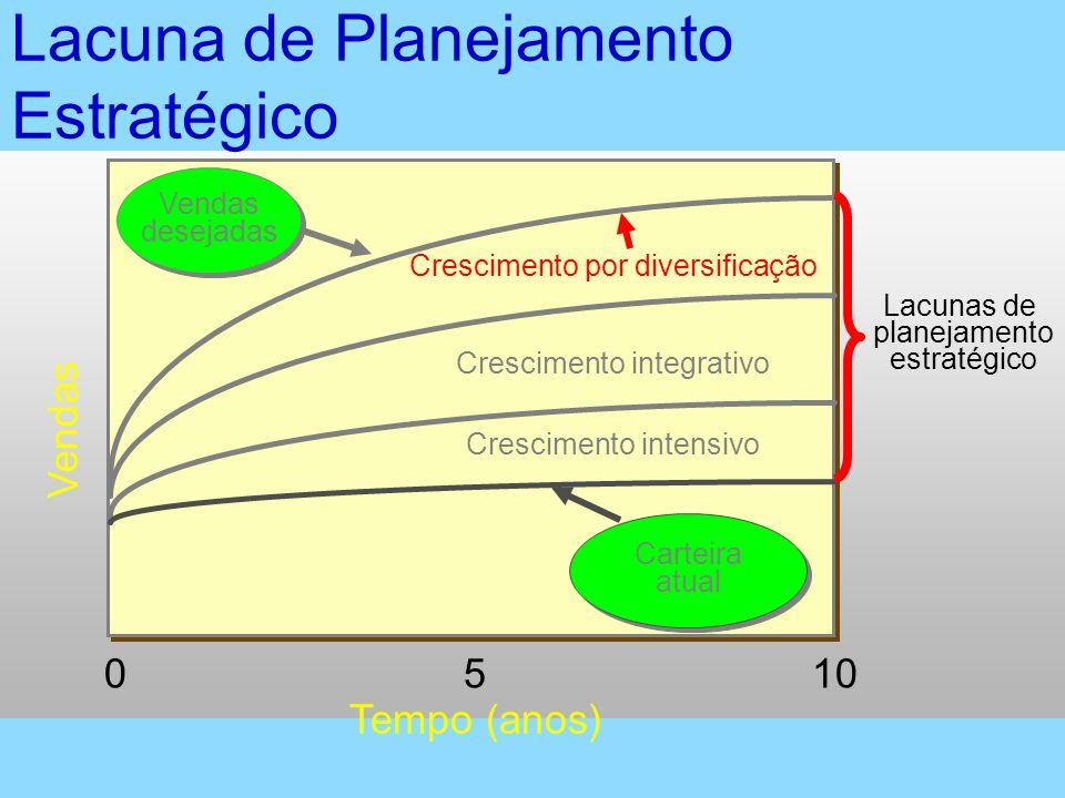 Vendas 1050 Tempo (anos) Vendas desejadas Vendas desejadas Crescimento integrativo Crescimento intensivo Carteira atual Carteira atual Lacunas de plan