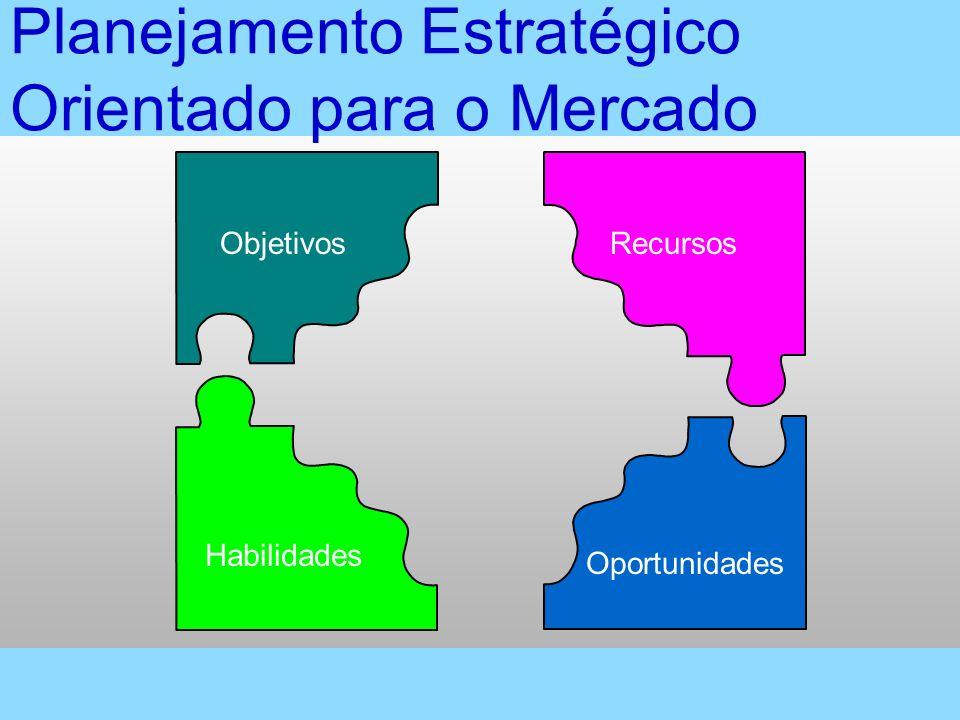 Vendas 1050 Tempo (anos) Vendas desejadas Vendas desejadas Crescimento integrativo Crescimento intensivo Carteira atual Carteira atual Lacunas de planejamento estratégico Crescimento por diversificação Lacuna de Planejamento Estratégico