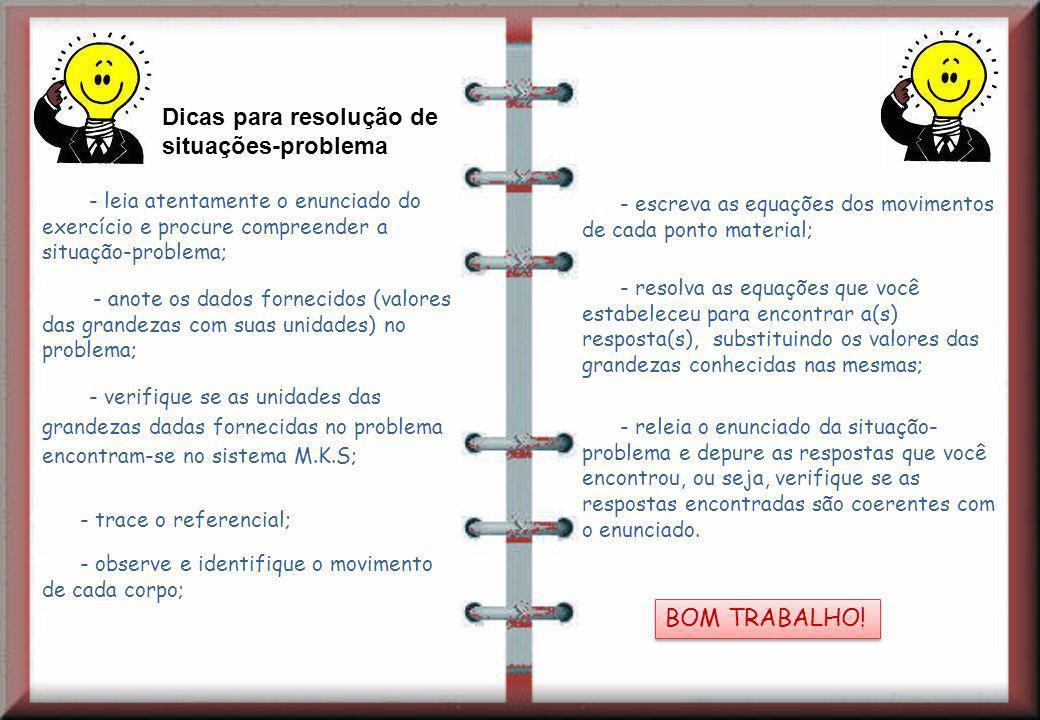 Dicas para resolução de situações-problema - leia atentamente o enunciado do exercício e procure compreender a situação-problema; - anote os dados for