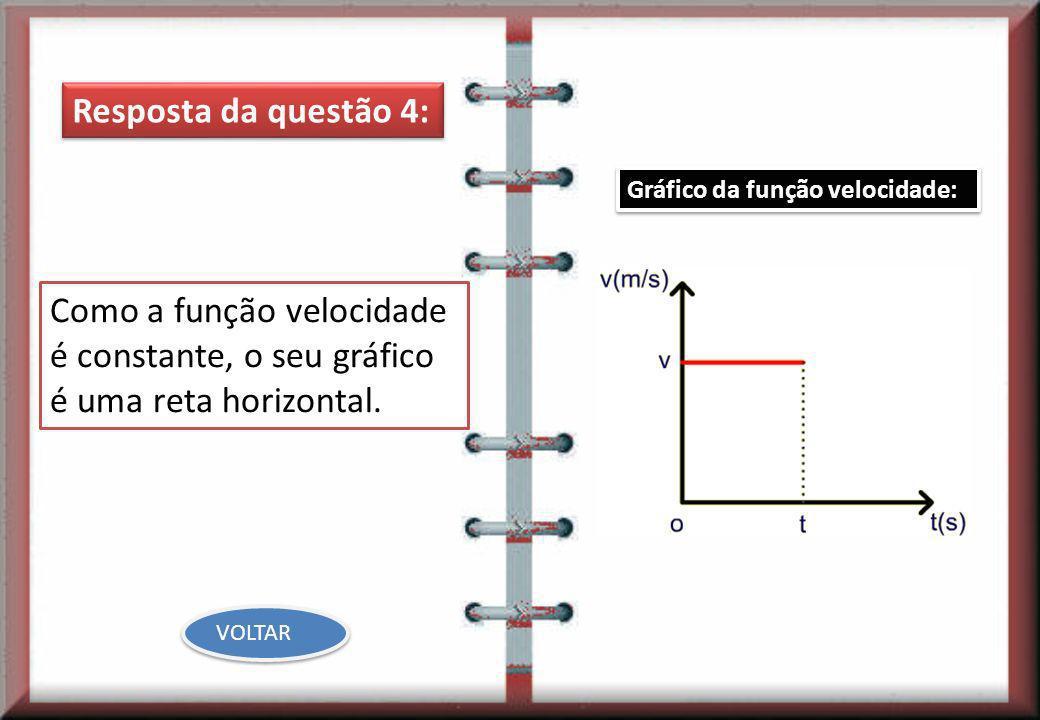 Resposta da questão 4: Como a função velocidade é constante, o seu gráfico é uma reta horizontal. Gráfico da função velocidade: VOLTAR