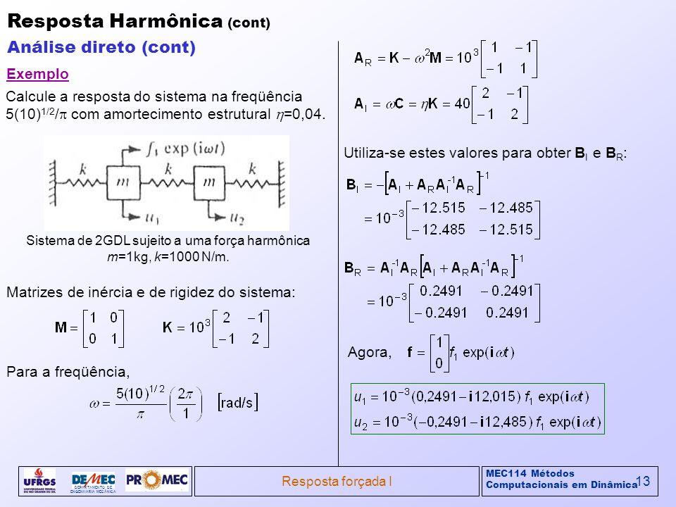MEC114 Métodos Computacionais em Dinâmica DEPARTAMENTO DE ENGENHARIA MECÂNICA Resposta forçada I13 Resposta Harmônica (cont) Análise direto (cont) Sis