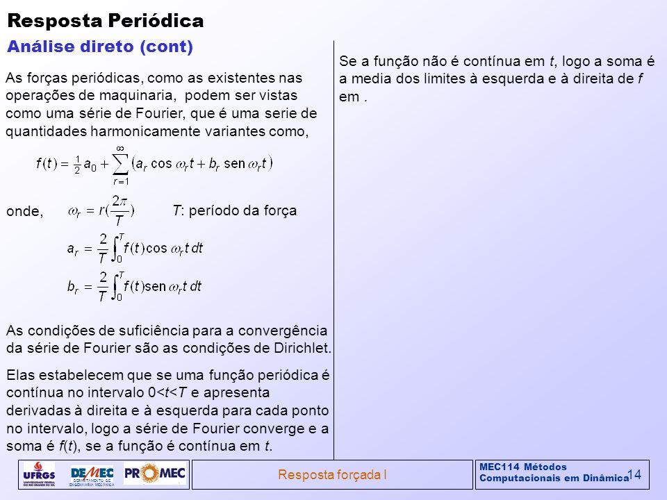 MEC114 Métodos Computacionais em Dinâmica DEPARTAMENTO DE ENGENHARIA MECÂNICA Resposta forçada I14 Resposta Periódica Análise direto (cont) As forças