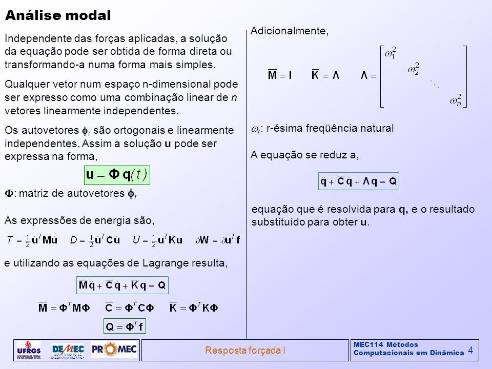 MEC114 Métodos Computacionais em Dinâmica DEPARTAMENTO DE ENGENHARIA MECÂNICA Resposta forçada I4 Análise modal Independente das forças aplicadas, a s