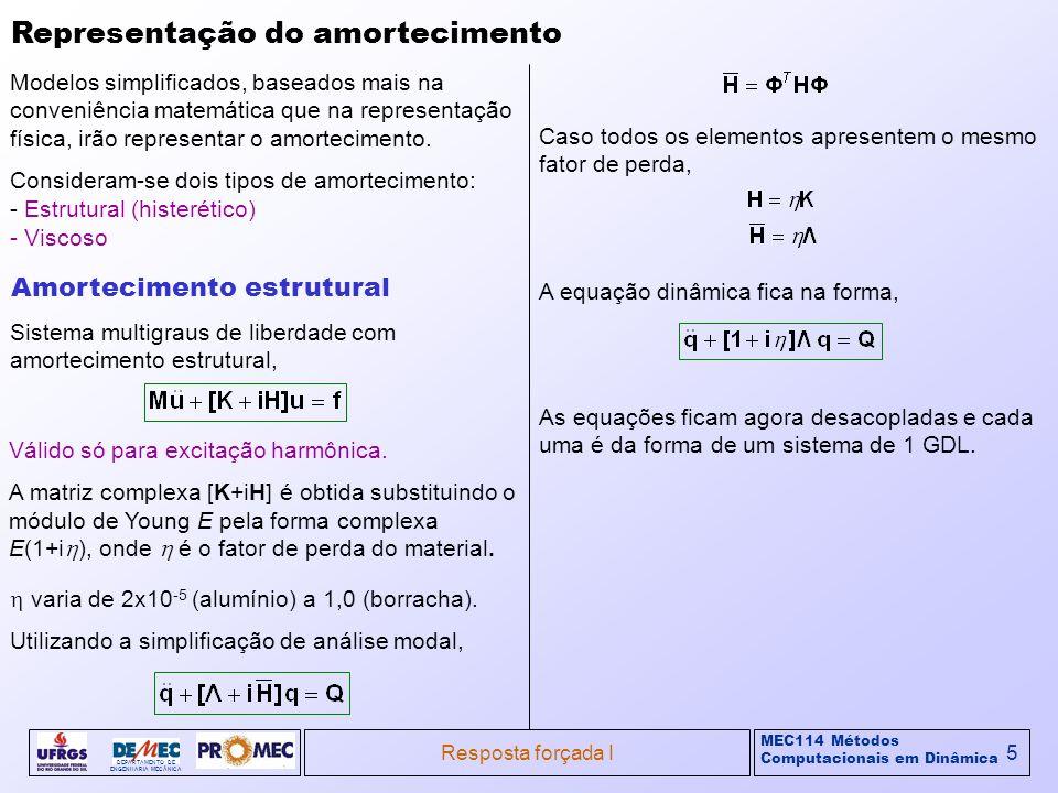 MEC114 Métodos Computacionais em Dinâmica DEPARTAMENTO DE ENGENHARIA MECÂNICA Resposta forçada I5 Representação do amortecimento Modelos simplificados