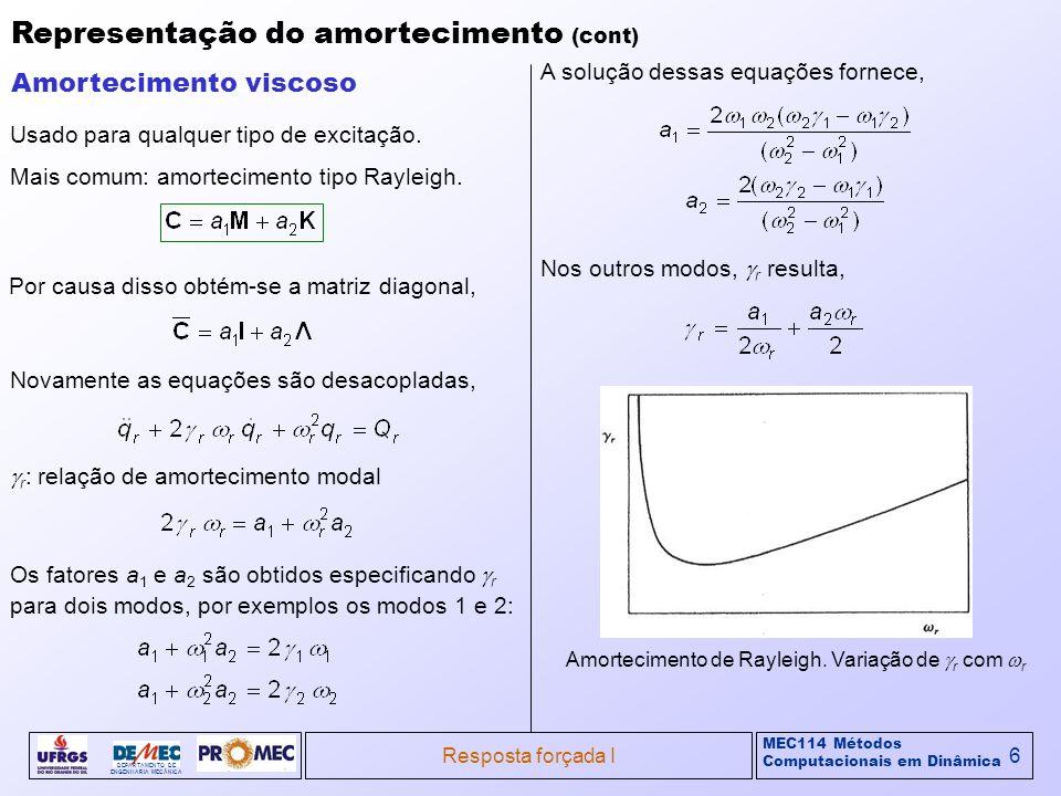 MEC114 Métodos Computacionais em Dinâmica DEPARTAMENTO DE ENGENHARIA MECÂNICA Resposta forçada I6 Representação do amortecimento (cont) Usado para qua