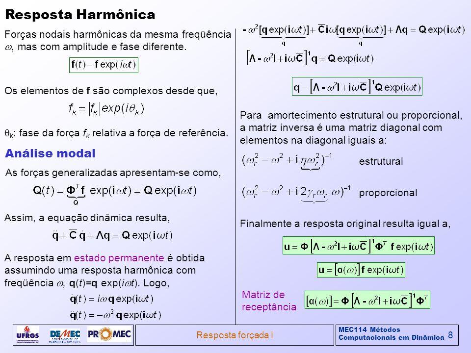 MEC114 Métodos Computacionais em Dinâmica DEPARTAMENTO DE ENGENHARIA MECÂNICA Resposta forçada I8 Resposta Harmônica Forças nodais harmônicas da mesma