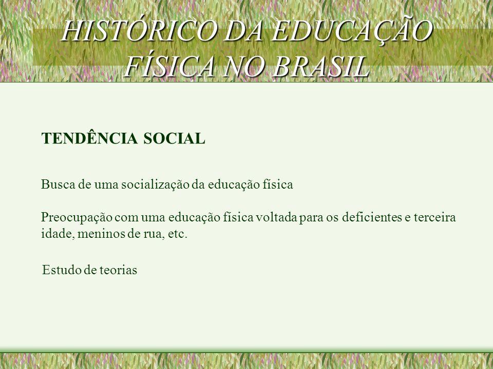HISTÓRICO DA EDUCAÇÃO FÍSICA NO BRASIL TENDÊNCIA SOCIAL Busca de uma socialização da educação física Estudo de teorias Preocupação com uma educação física voltada para os deficientes e terceira idade, meninos de rua, etc.