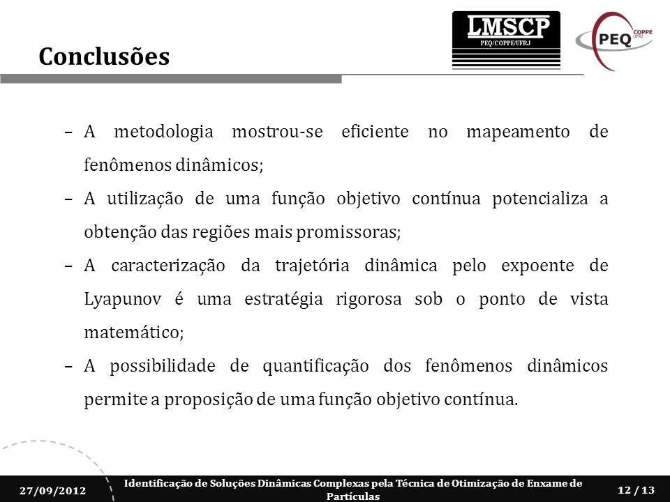 Identificação de Soluções Dinâmicas Complexas pela Técnica de Otimização de Enxame de Partículas 27/09/2012 12 / 13 Conclusões A metodologia mostrou-s