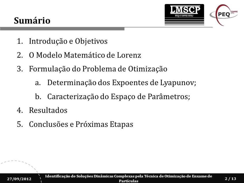 Identificação de Soluções Dinâmicas Complexas pela Técnica de Otimização de Enxame de Partículas 27/09/2012 2 / 13 1.Introdução e Objetivos 2.O Modelo
