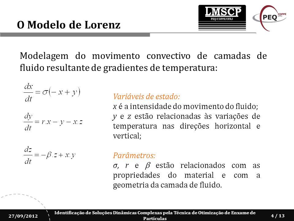 Identificação de Soluções Dinâmicas Complexas pela Técnica de Otimização de Enxame de Partículas 27/09/2012 4 / 13 O Modelo de Lorenz Modelagem do mov