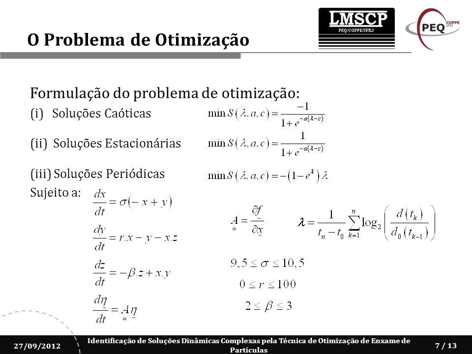 Identificação de Soluções Dinâmicas Complexas pela Técnica de Otimização de Enxame de Partículas 27/09/2012 7 / 13 Formulação do problema de otimizaçã