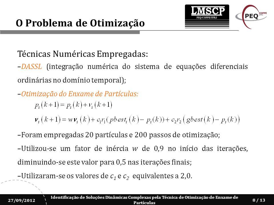 Identificação de Soluções Dinâmicas Complexas pela Técnica de Otimização de Enxame de Partículas 27/09/2012 8 / 13 Técnicas Numéricas Empregadas: DASS