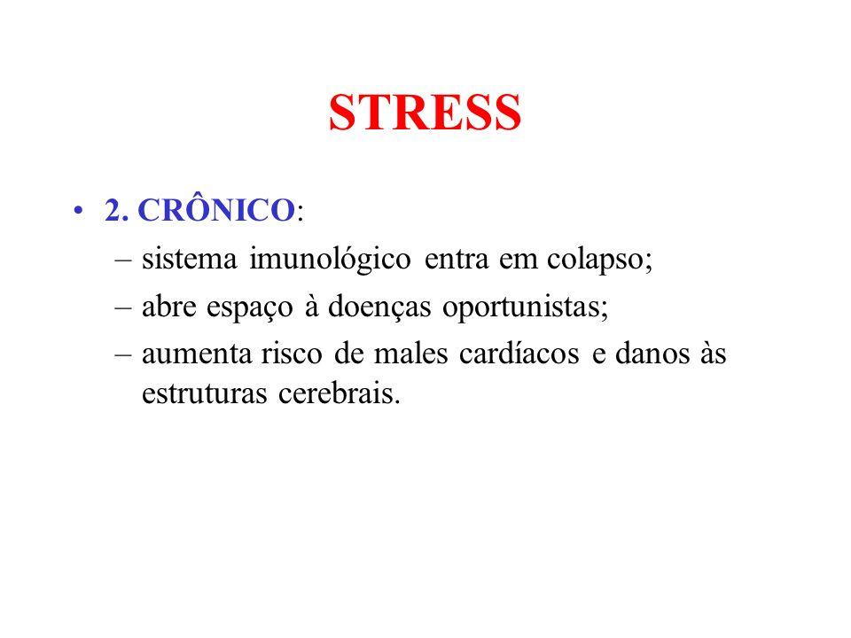 STRESS 2. CRÔNICO: –sistema imunológico entra em colapso; –abre espaço à doenças oportunistas; –aumenta risco de males cardíacos e danos às estruturas