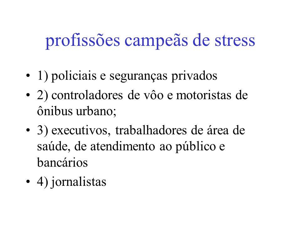 profissões campeãs de stress 1) policiais e seguranças privados 2) controladores de vôo e motoristas de ônibus urbano; 3) executivos, trabalhadores de