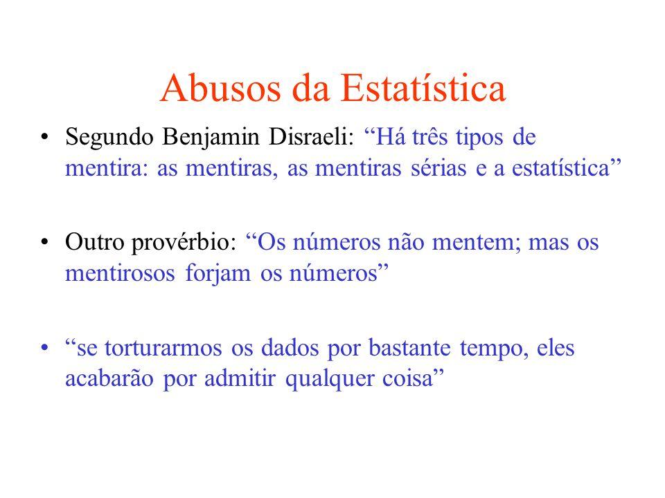 Abusos da Estatística Segundo Benjamin Disraeli: Há três tipos de mentira: as mentiras, as mentiras sérias e a estatística Outro provérbio: Os números