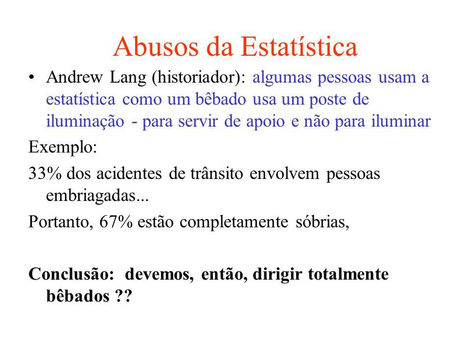 Abusos da Estatística Andrew Lang (historiador): algumas pessoas usam a estatística como um bêbado usa um poste de iluminação - para servir de apoio e