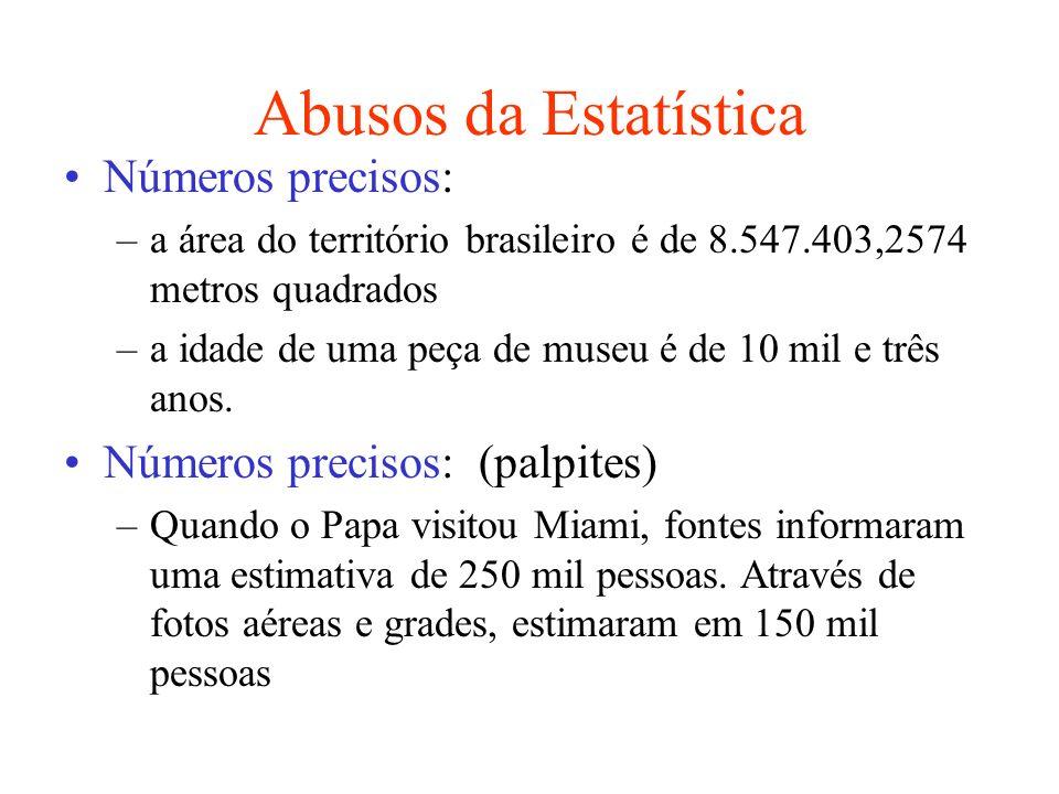 Abusos da Estatística Números precisos: –a área do território brasileiro é de 8.547.403,2574 metros quadrados –a idade de uma peça de museu é de 10 mi