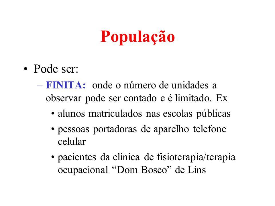 População Pode ser: –FINITA: onde o número de unidades a observar pode ser contado e é limitado. Ex alunos matriculados nas escolas públicas pessoas p