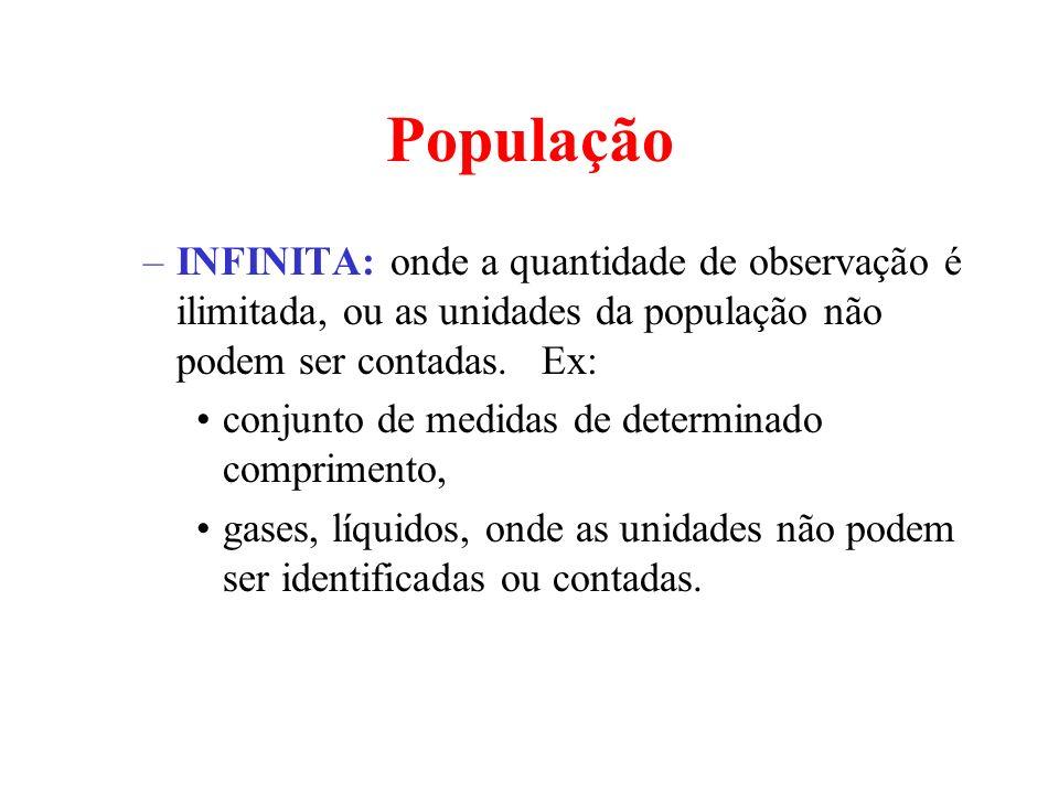 População –INFINITA: onde a quantidade de observação é ilimitada, ou as unidades da população não podem ser contadas. Ex: conjunto de medidas de deter