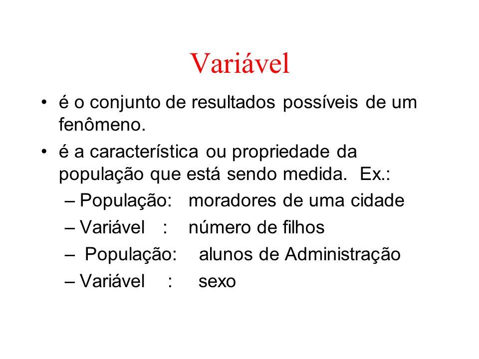 Variável é o conjunto de resultados possíveis de um fenômeno. é a característica ou propriedade da população que está sendo medida. Ex.: –População: m