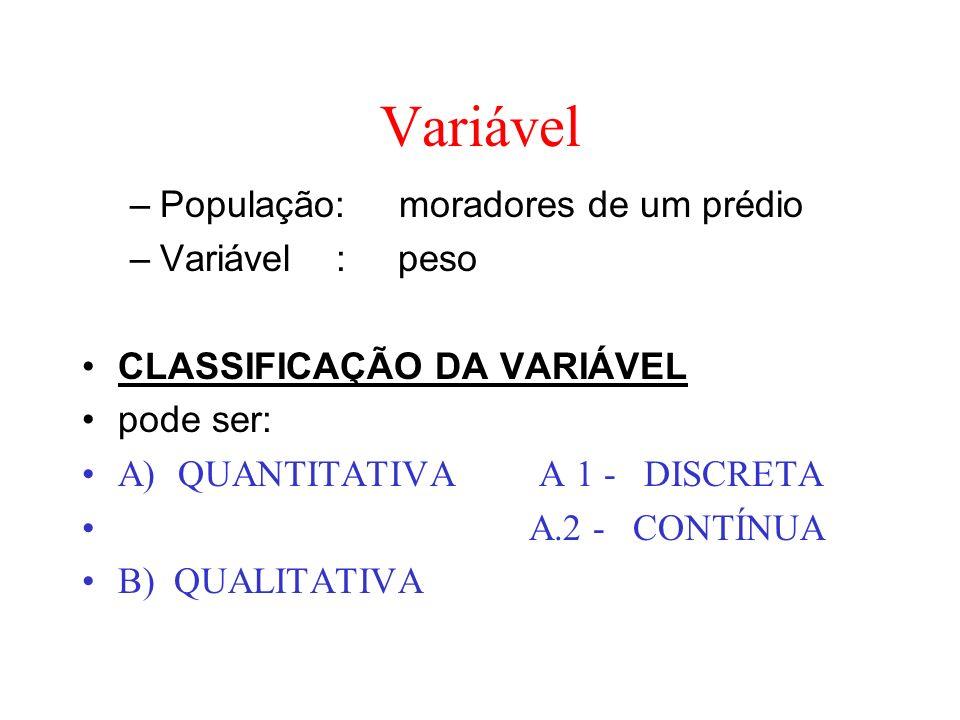 Variável –População: moradores de um prédio –Variável : peso CLASSIFICAÇÃO DA VARIÁVEL pode ser: A) QUANTITATIVA A 1 - DISCRETA A.2 - CONTÍNUA B) QUAL