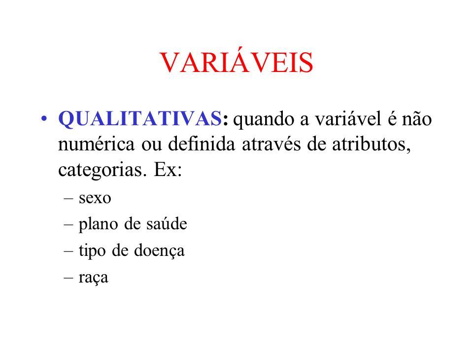 VARIÁVEIS QUALITATIVAS: quando a variável é não numérica ou definida através de atributos, categorias. Ex: –sexo –plano de saúde –tipo de doença –raça