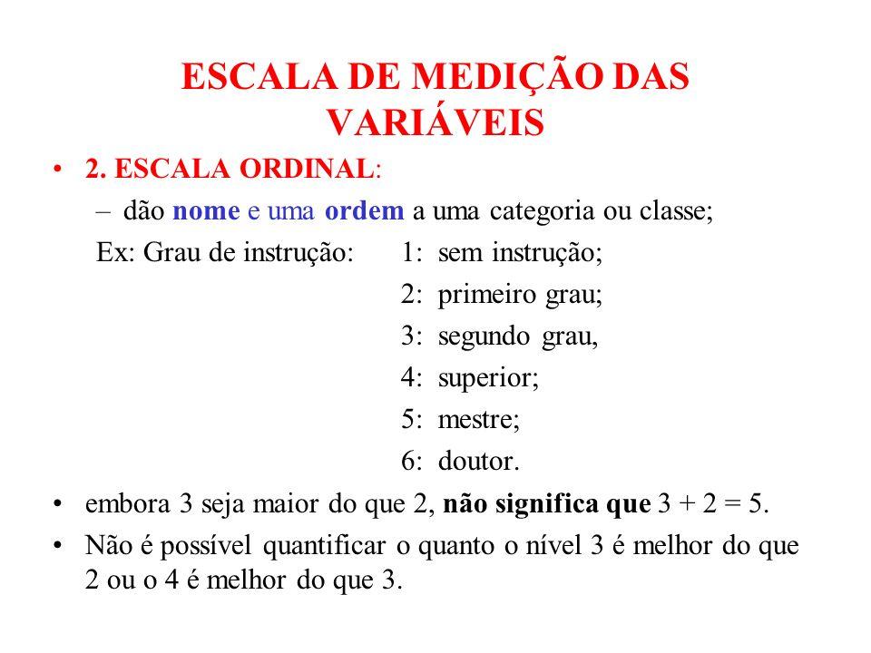 ESCALA DE MEDIÇÃO DAS VARIÁVEIS 2. ESCALA ORDINAL: –dão nome e uma ordem a uma categoria ou classe; Ex: Grau de instrução: 1: sem instrução; 2: primei