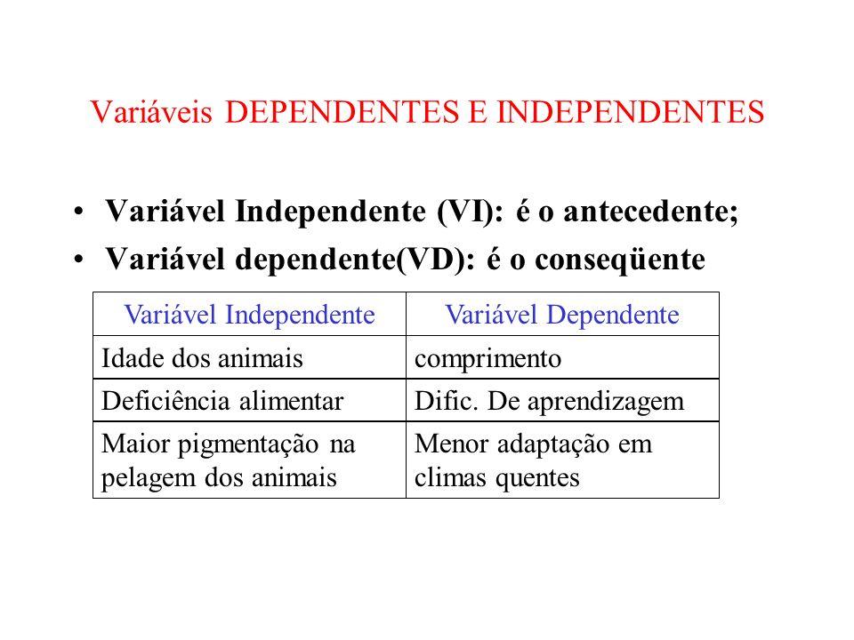 Variáveis DEPENDENTES E INDEPENDENTES Variável Independente (VI): é o antecedente; Variável dependente(VD): é o conseqüente Variável IndependenteVariá