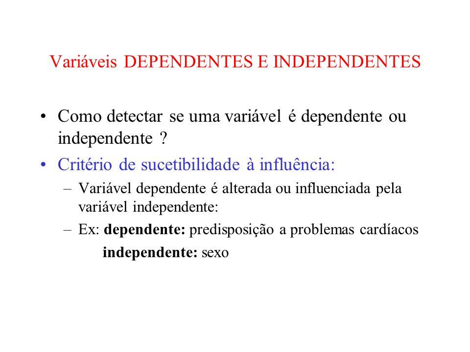 Variáveis DEPENDENTES E INDEPENDENTES Como detectar se uma variável é dependente ou independente ? Critério de sucetibilidade à influência: –Variável