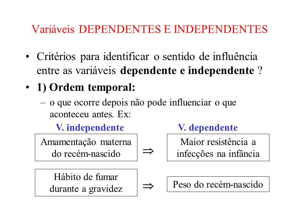 Variáveis DEPENDENTES E INDEPENDENTES Critérios para identificar o sentido de influência entre as variáveis dependente e independente ? 1) Ordem tempo