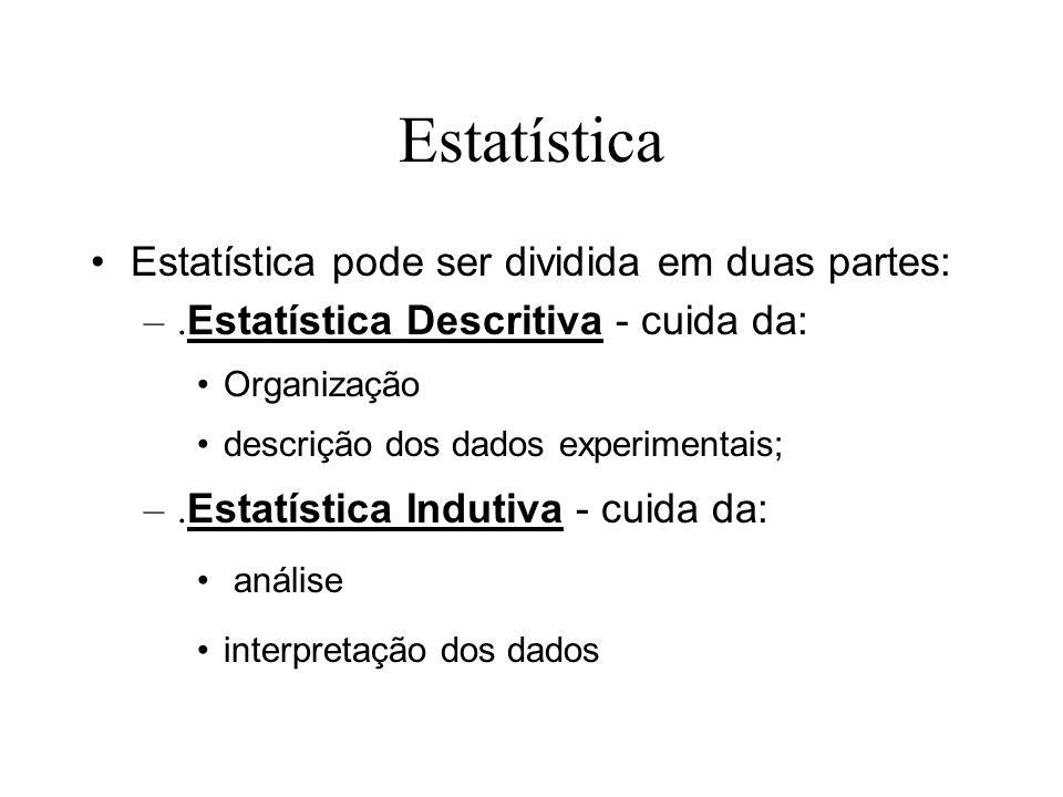 Estatística Estatística pode ser dividida em duas partes: –. Estatística Descritiva - cuida da: Organização descrição dos dados experimentais; –. Esta