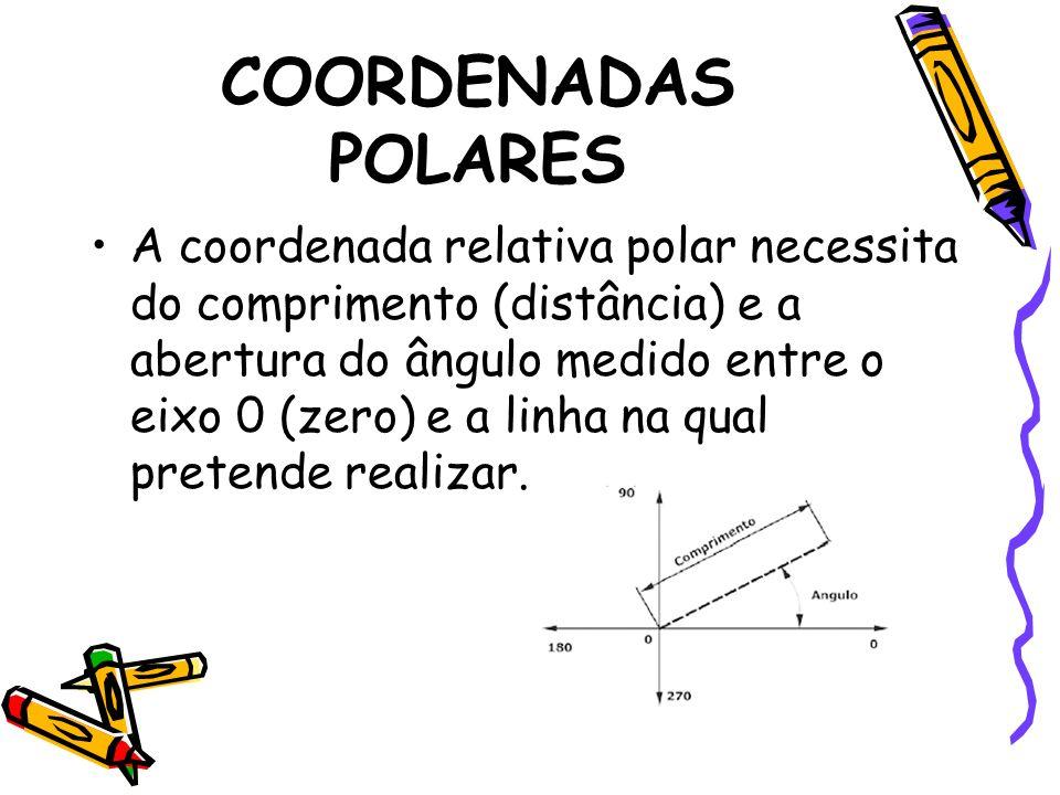 COORDENADAS POLARES A coordenada relativa polar necessita do comprimento (distância) e a abertura do ângulo medido entre o eixo 0 (zero) e a linha na