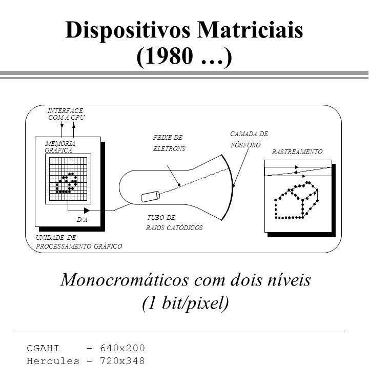 Dispositivos Matriciais (1980 …) FEIXE DE ELETRONS TUBO DE RAIOS CATÓDICOS RASTREAMENTO CAMADA DE FÓSFORO INTERFACE COM A CPU UNIDADE DE PROCESSAMENTO
